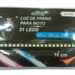 LUZ DE FRENO PARA MOTOS ROJA 21 LED - 12V - LARGO 16CM - 3 MODOS